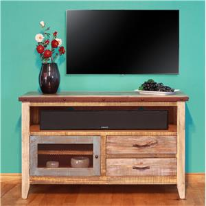 "International Furniture Direct 900 Antique Solid Pine 52"" TV Stand"