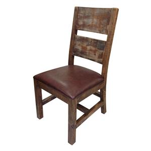 International Furniture Direct 900 Antique Solid Wood Chair with Bonded Leather Seat