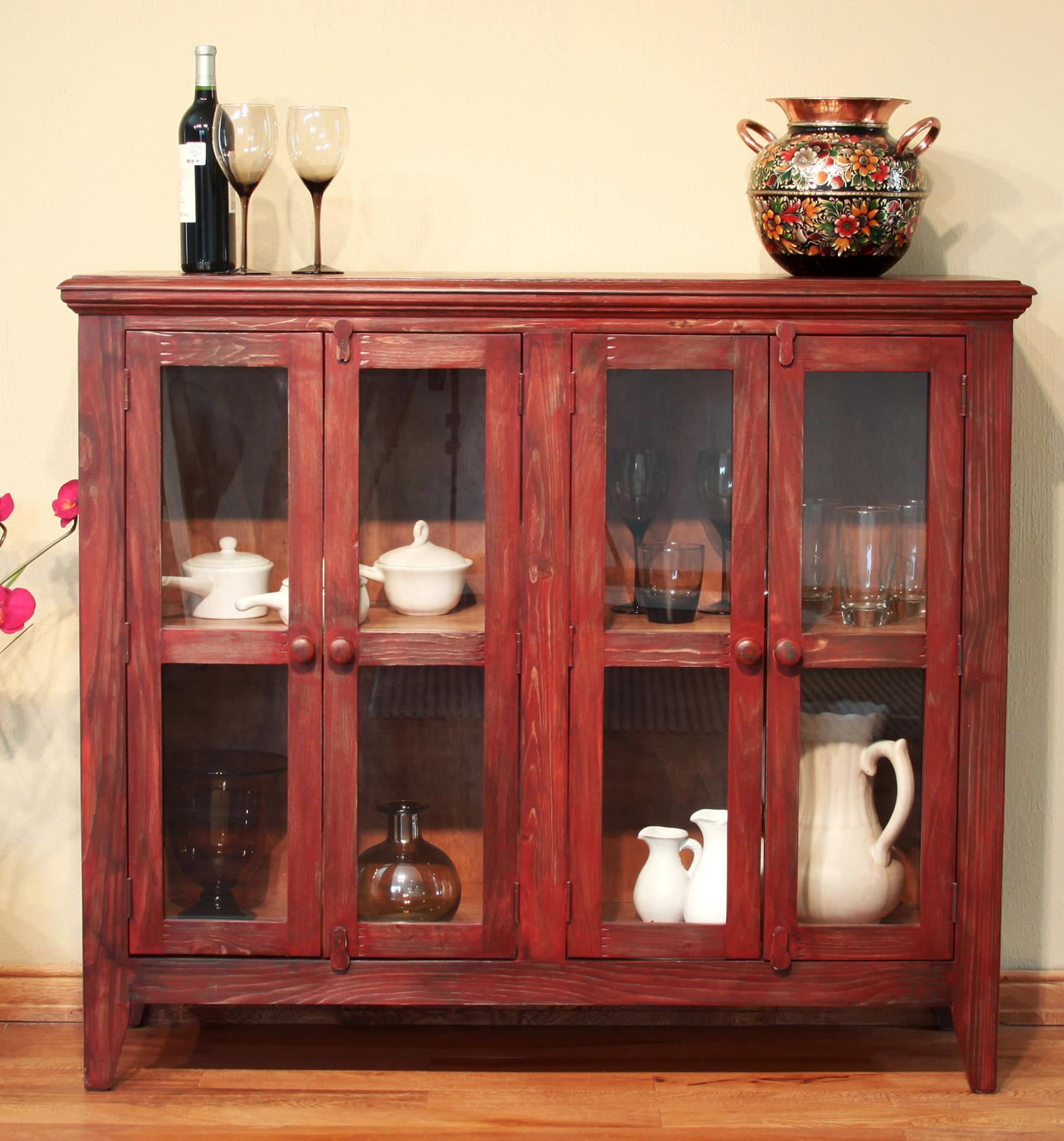 International Furniture Direct 900 Antique Console with 4 Doors - Item Number: IFD967CONS-R