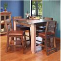 "International Furniture Direct 900 Antique 42"" Counter Height Dining Table Set - Item Number: IFD967COUNT-42+4xBS24"
