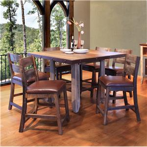 "International Furniture Direct 900 Antique 52"" Counter Height Dining Table Set"
