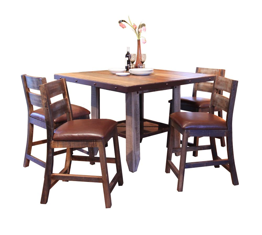 International Furniture Direct 900 Antique 5 PC Dining Set - Item Number: IFD967COUNT-MC+BS24X4