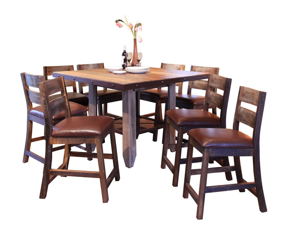 International Furniture Direct 900 Antique 9 PC Dining Set - Item Number: IFD967COUNT-MC+BS24X8
