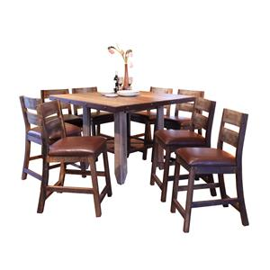 International Furniture Direct 900 Antique 9 PC Dining Set