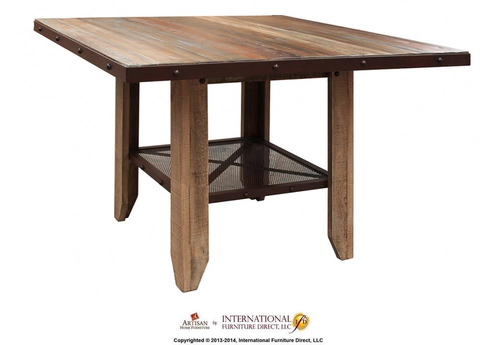 "International Furniture Direct 900 Antique 52"" Counter Height Dining Table - Item Number: IFD967COUNT-MC"