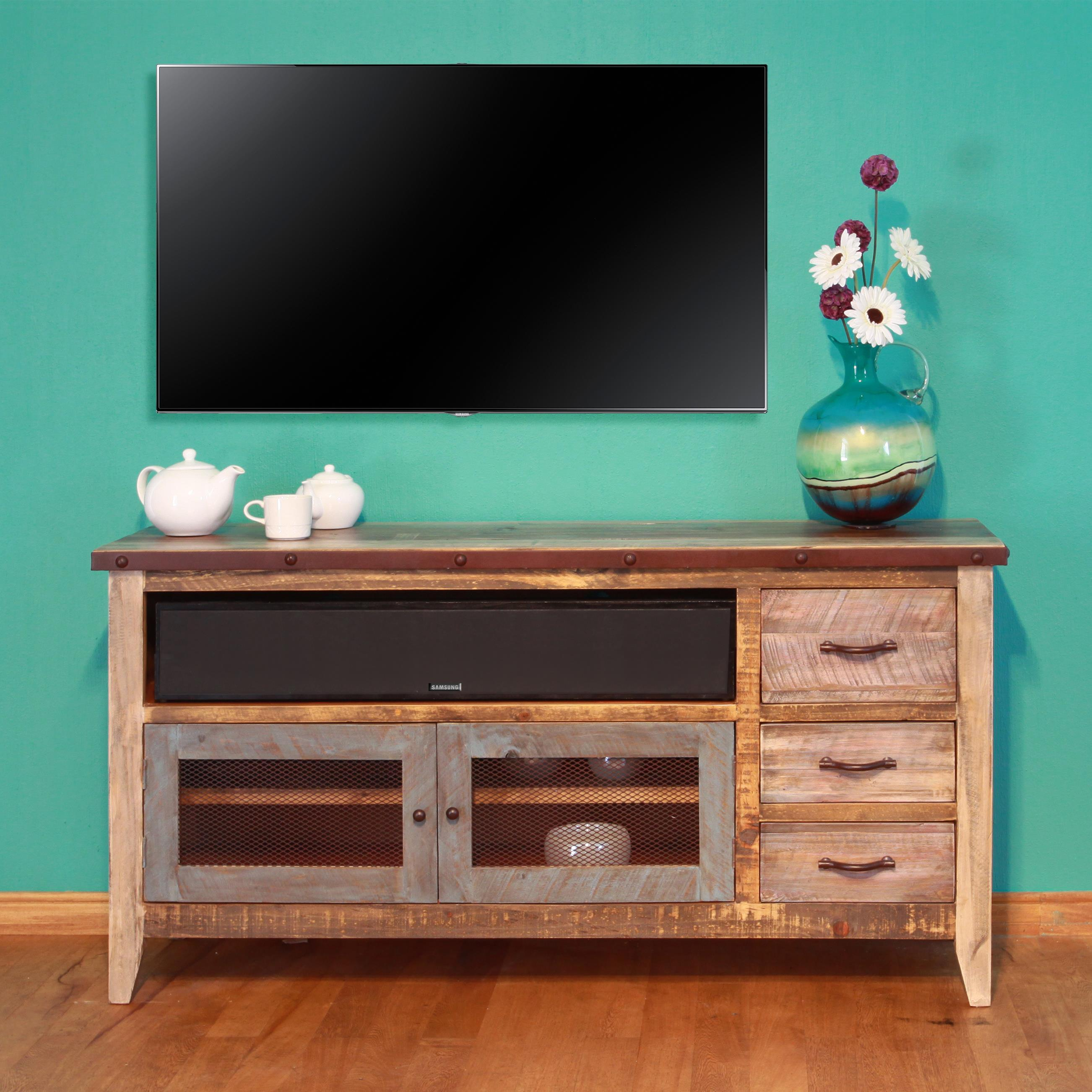 "International Furniture Direct 900 Antique Solid Pine 62"" TV Stand - Item Number: IFD967STAND"