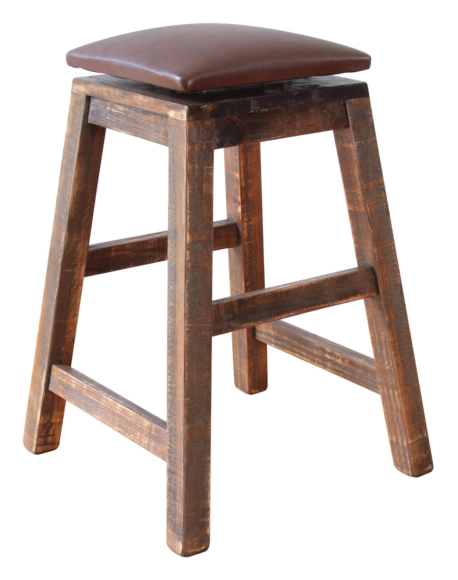 "International Furniture Direct 900 Antique 24"" Swivel Stool - For Counter Height Tables - Item Number: IFD967STOOL-24"