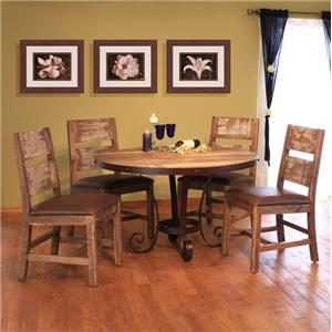 International Furniture Direct 900 Antique 5 Piece Table & Chair Set