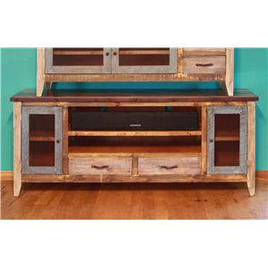 "International Furniture Direct 900 Antique Solid Pine 76"" TV Stand"