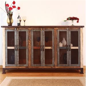 International Furniture Direct 900 Antique Multicolor Console with 6 Iron Mesh Doors