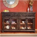 International Furniture Direct Vintage Console with 4 Glass Doors - Item Number: IFD974CONS
