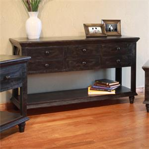 International Furniture Direct Vintage 6 Drawer Sofa Table