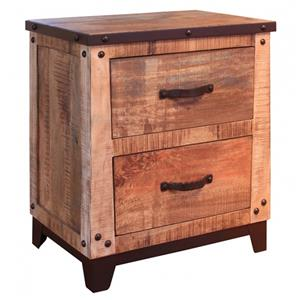 International Furniture Direct Maya 2 Drawer Nightstand with Iron Trim and Nail Head Details