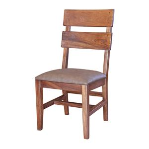International Furniture Direct Parota Chair with Bonded Leather Seat