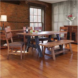 International Furniture Direct Parota Table and Chair Set with Bench