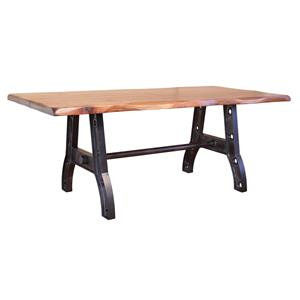 International Furniture Direct Parota Trestle Table with Iron Base