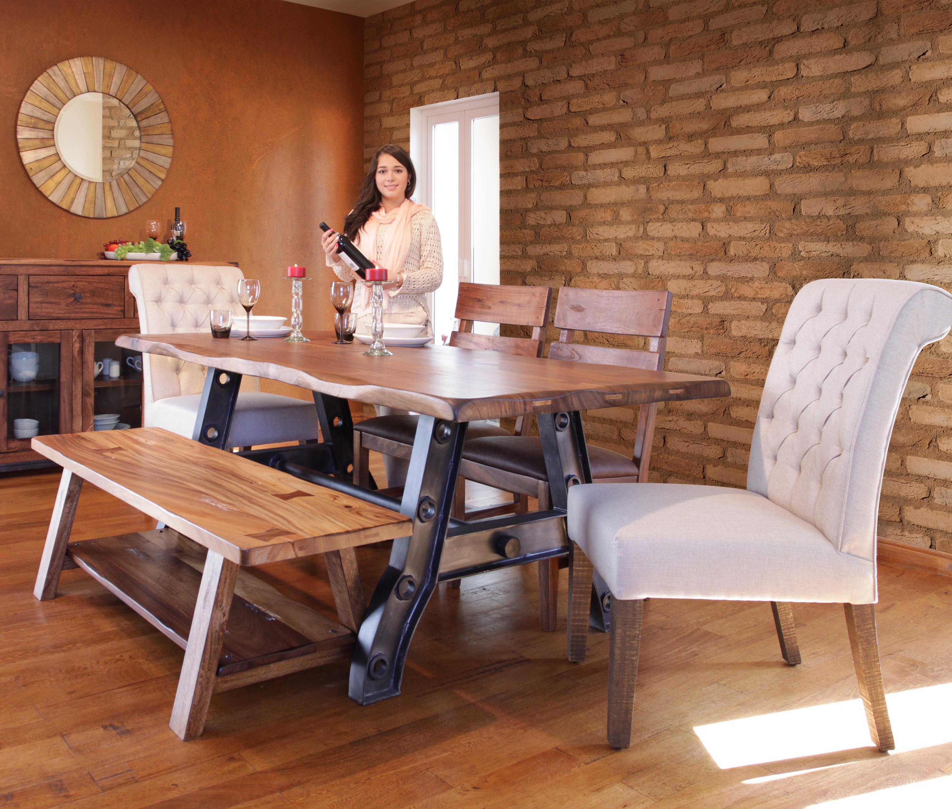 International Furniture Direct Parota Trestle Table With