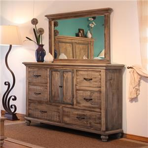 International Furniture Direct Praga  Dresser and Mirror Set