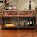 International Furniture Direct Urban Gold Rustic Contemporary Sofa Table with 2 Drawers