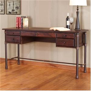 International Furniture Direct Mango Desk Desk with Mango Wood Top and Iron Base