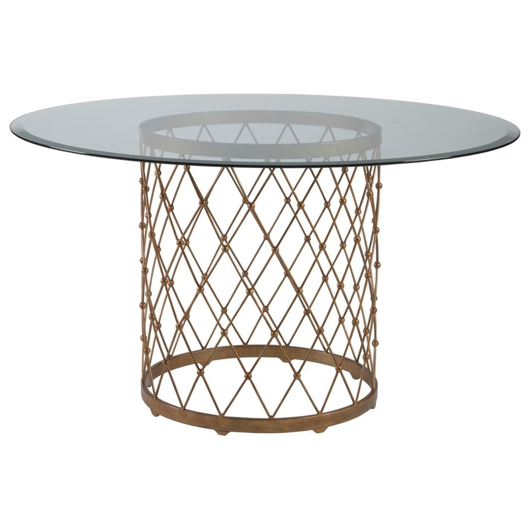 Metal Designs Royere Dining Table With Glass Top by Artistica at Sprintz Furniture