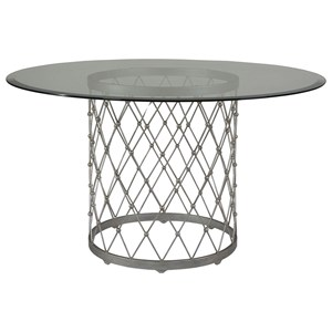 Artistica Artistica Metal Royere Dining Table With Glass Top