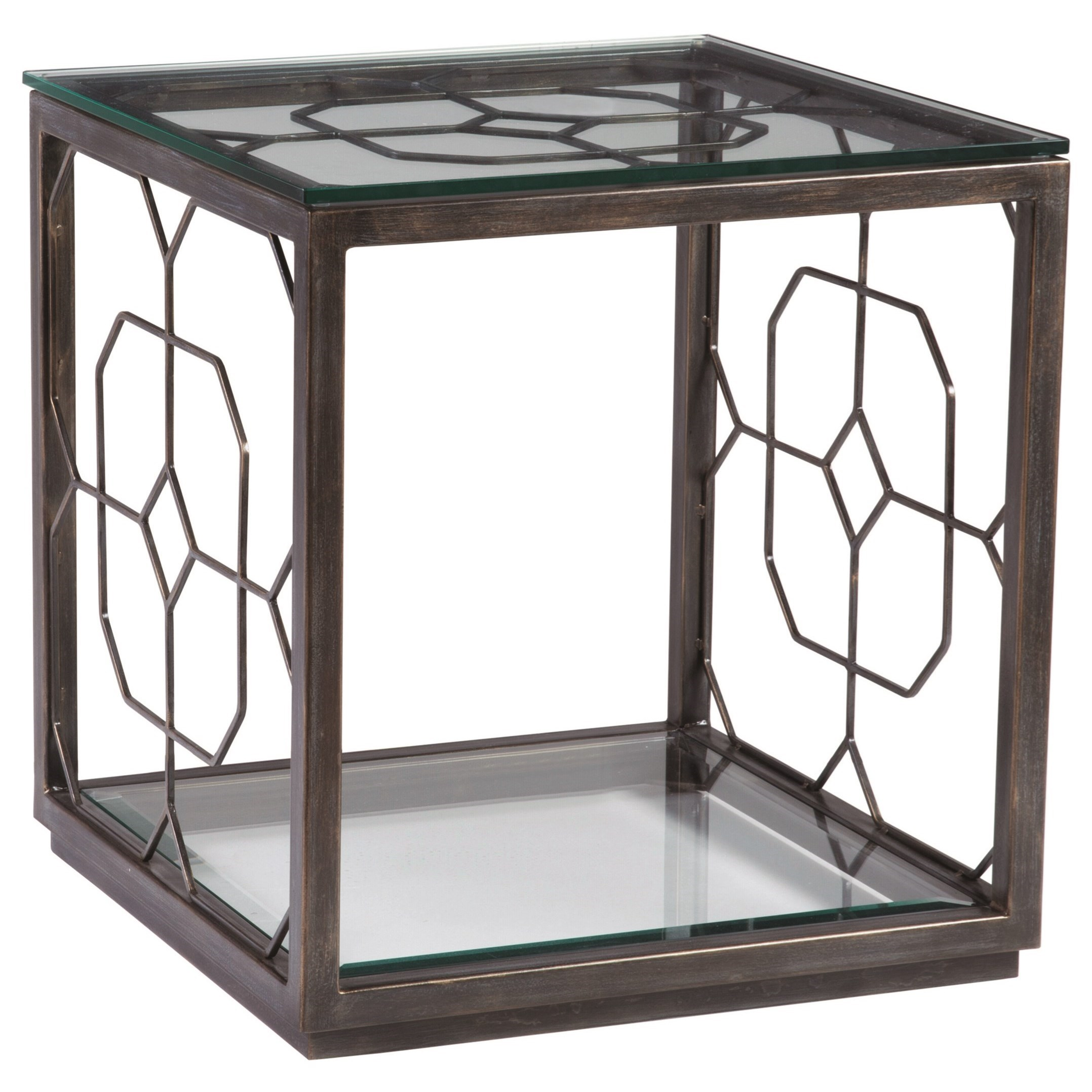 Metal Designs Honeycomb Square End Table by Artistica at Sprintz Furniture