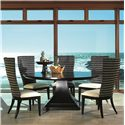 Artistica Bento 72-Inch Round Dining Table with Square Single Pedestal Base - Shown with Woven Back Side Chairs