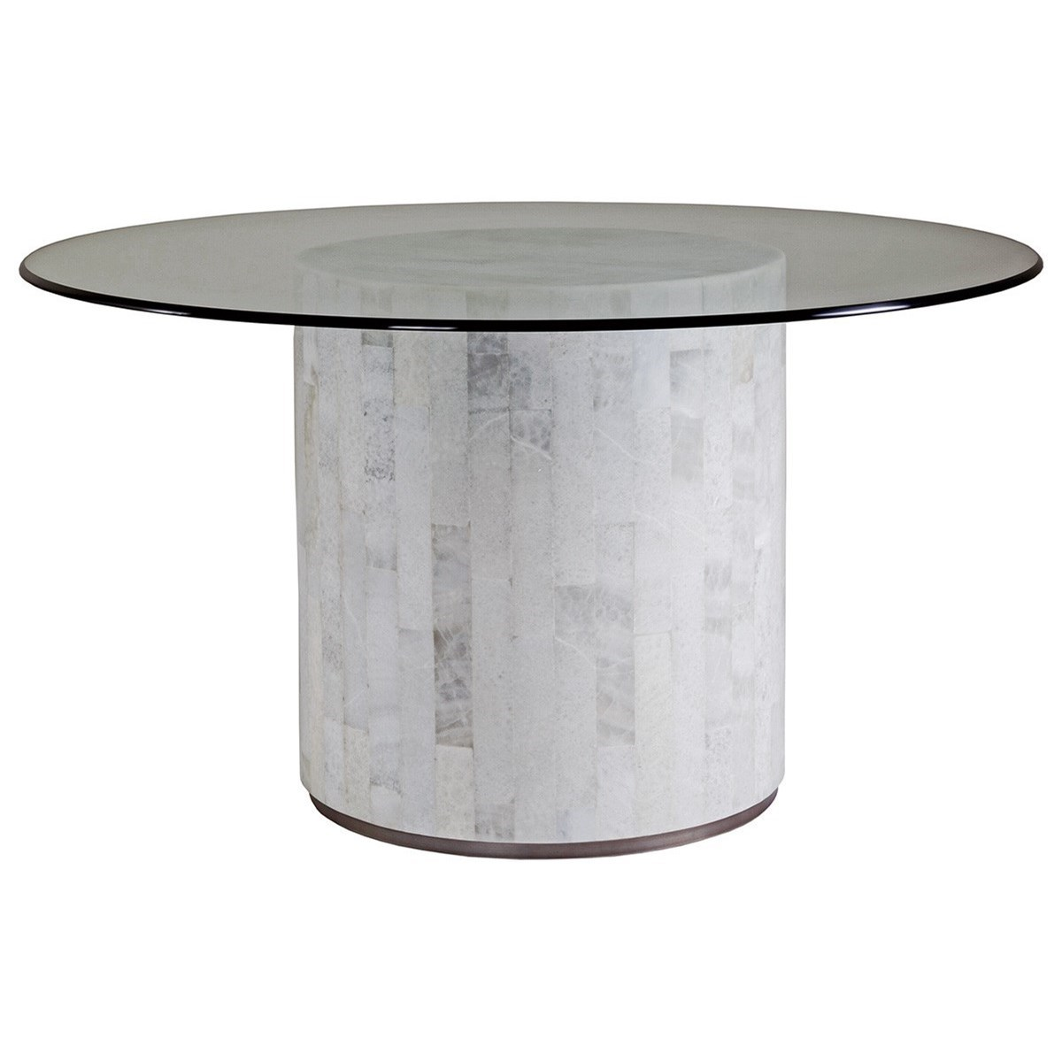 Artistica Greta Transitional White Onyx Dining Table With 56 Round Glass Top Sprintz Furniture Kitchen Tables