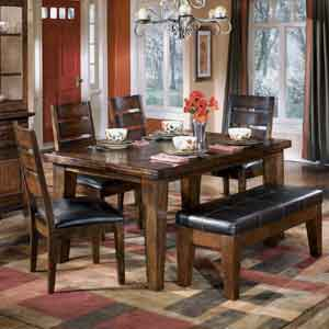Signature Design by Ashley Furniture Larchmont Dining Table, 4 Chairs, and 1 Bench