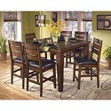 Signature Design by Ashley Larchmont Pub Table and 6 Bar Stools - Item Number: D442-32+124