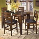 Signature Design by Ashley Larchmont Butterfly Leaf Pub Table and 6 Bar Stools