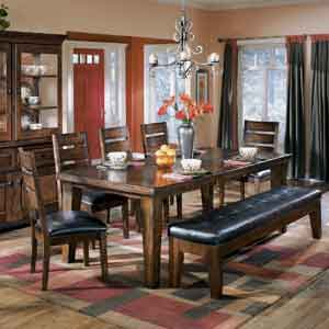 Signature Design by Ashley Larchmont Extension Table, 5 Chairs, and 1 Bench