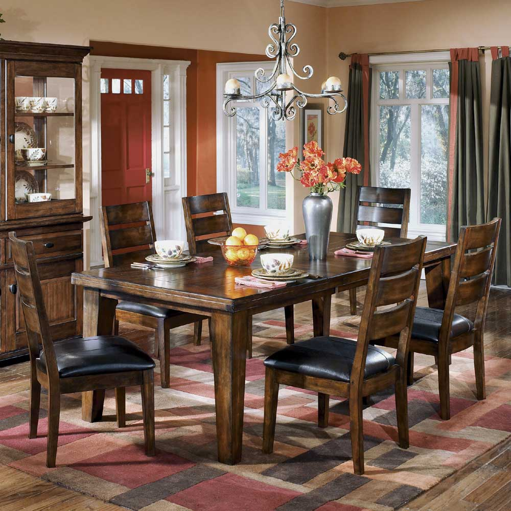 Ashley Dining Table Chairs: Signature Design By Ashley Larchmont Rectangular Extension