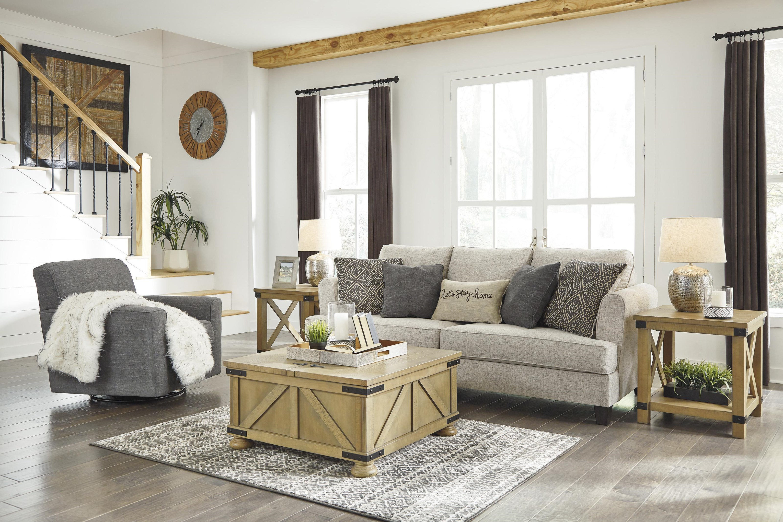 Alcona Beige Sofa and Swivel Chair Set by Ashley Furniture at Sam Levitz  Furniture