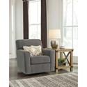 Ashley Furniture Alcona Swivel Glider Accent Chair in Gray Fabric