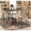 Ashley Furniture Alyssa 24 inch Wood and Metal Bar Stool with Damask Seat - Shown as part of 2-Piece Counter Height Table Set
