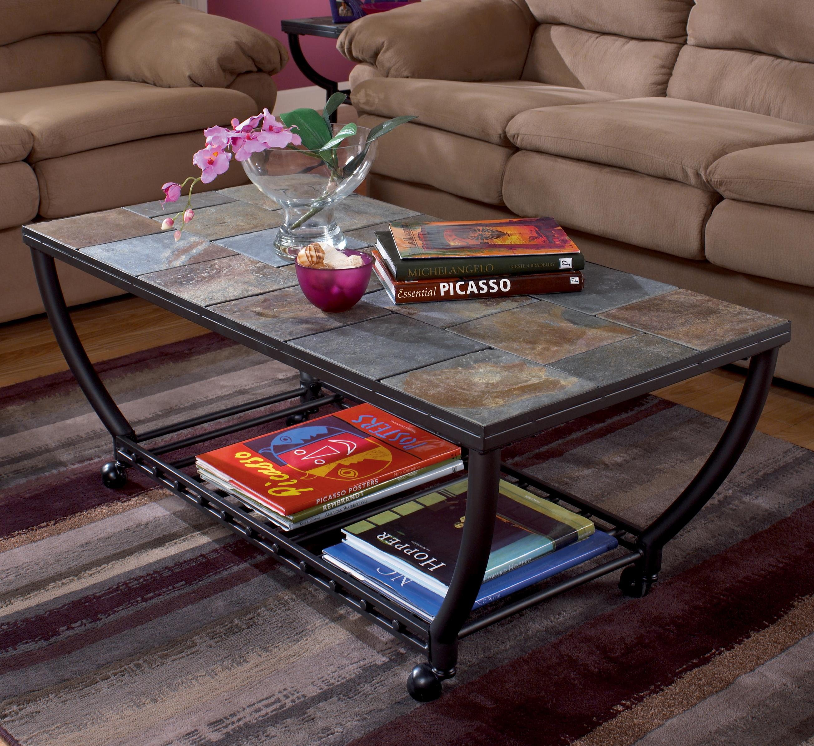 Signature Design by Ashley Antigo Rectangular Cocktail Table w/Casters - Item Number: T2330-233
