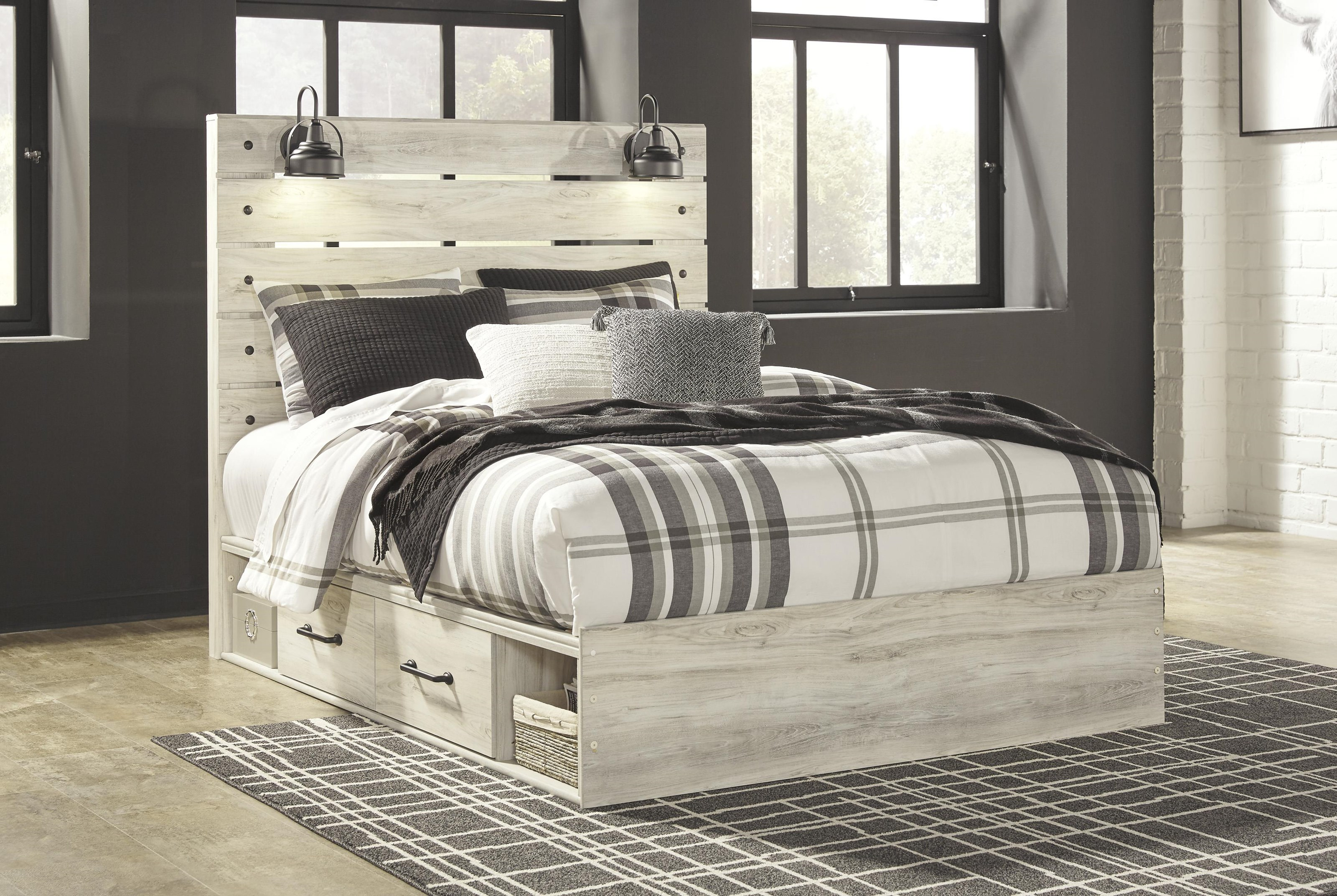 Picture of: Ashley Furniture Cambeck Queen Storage Bed With Lights Dream Home Interiors Panel Beds