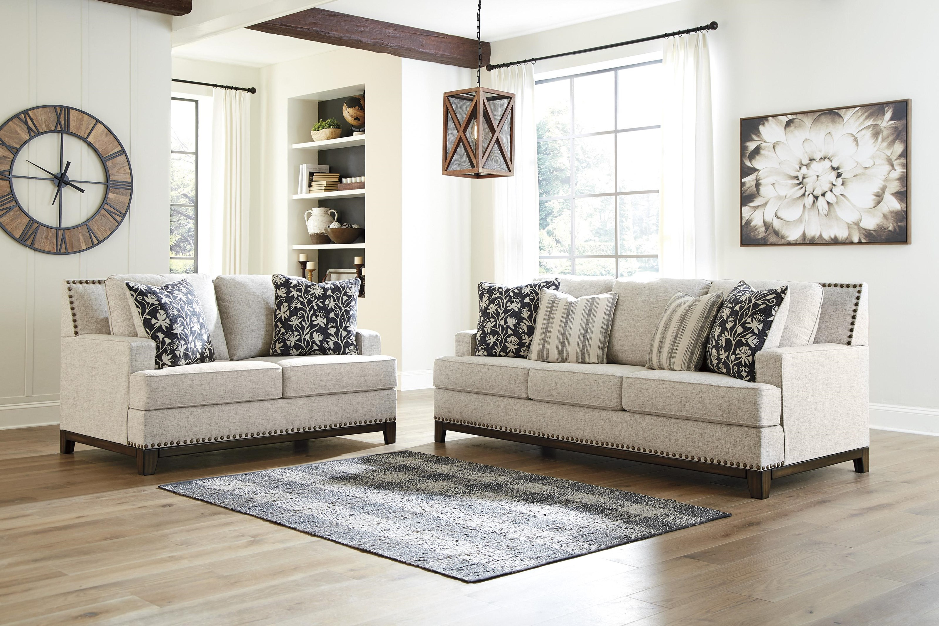 Picture of: Ashley Furniture Ballina 1470738 35 Linen Sofa And Loveseat Set Sam Levitz Furniture Stationary Living Room Groups