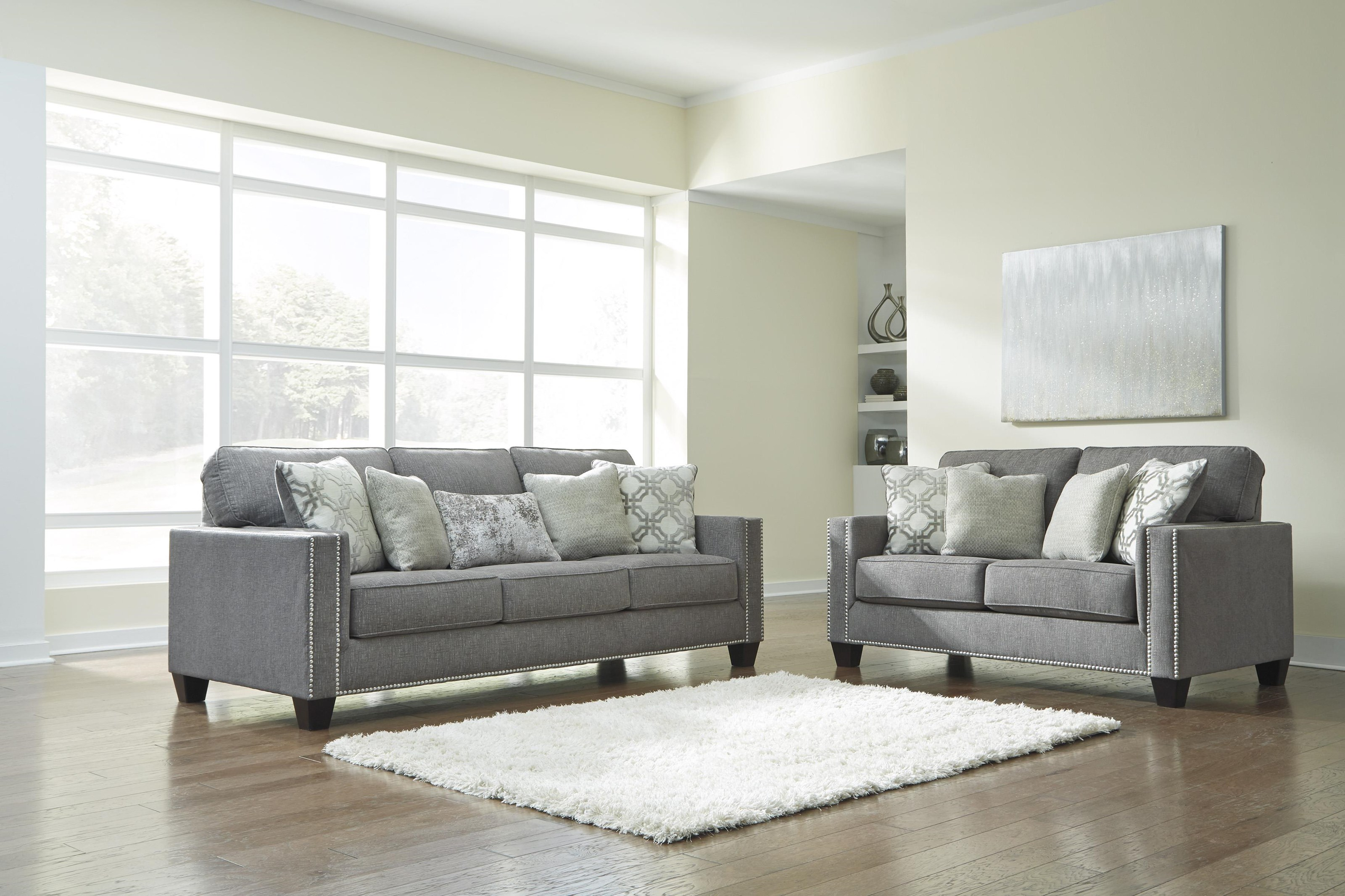 Picture of: Ashley Furniture Barrali 1390438 35 Fog Sofa And Loveseat Set Sam Levitz Outlet Stationary Living Room Groups