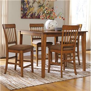 Signature Design by Ashley Furniture Berringer 5-Piece Counter Table w/ Lazy Susan Set