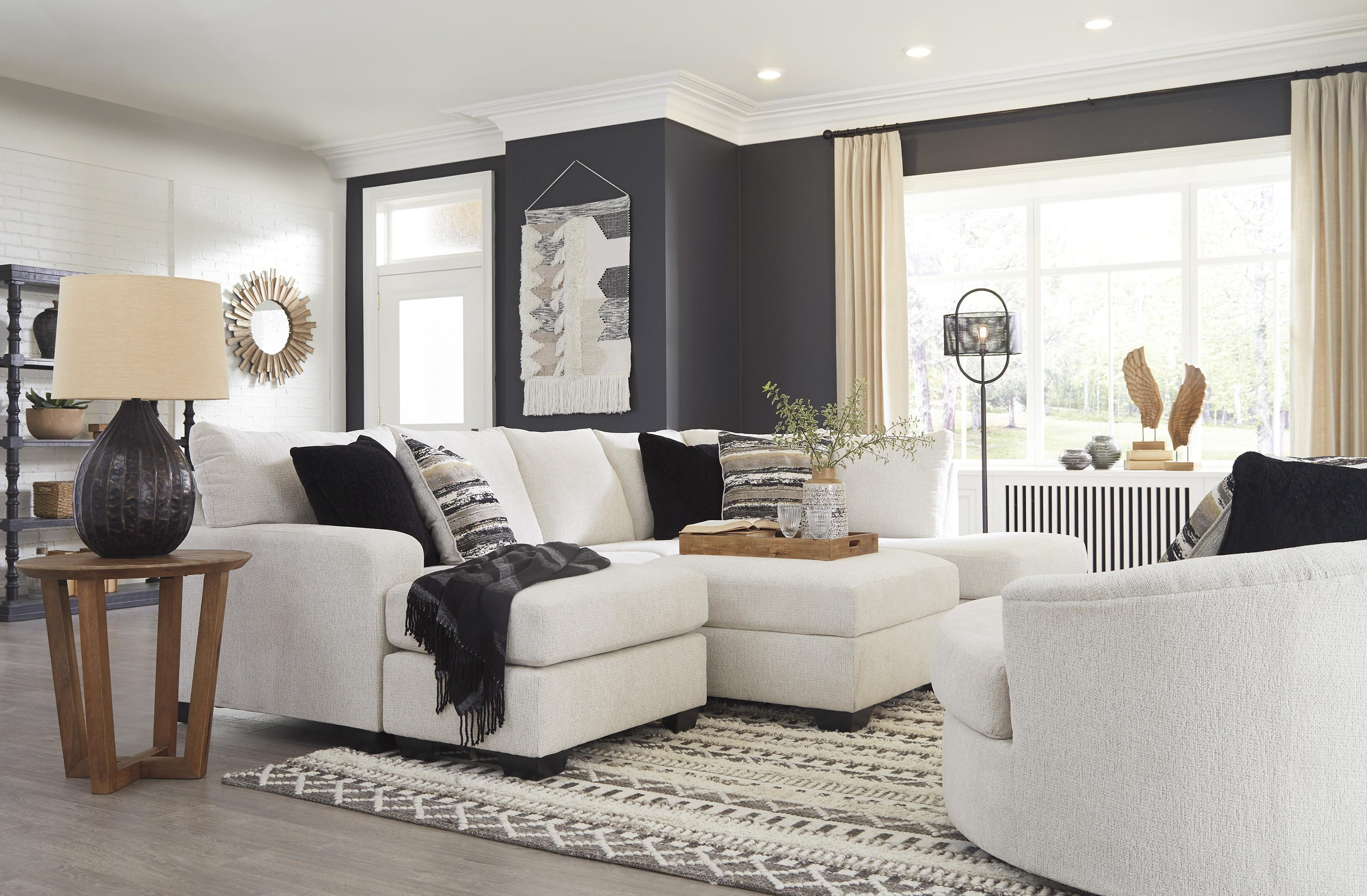 2 PC Sectional And Swivel Chair Set