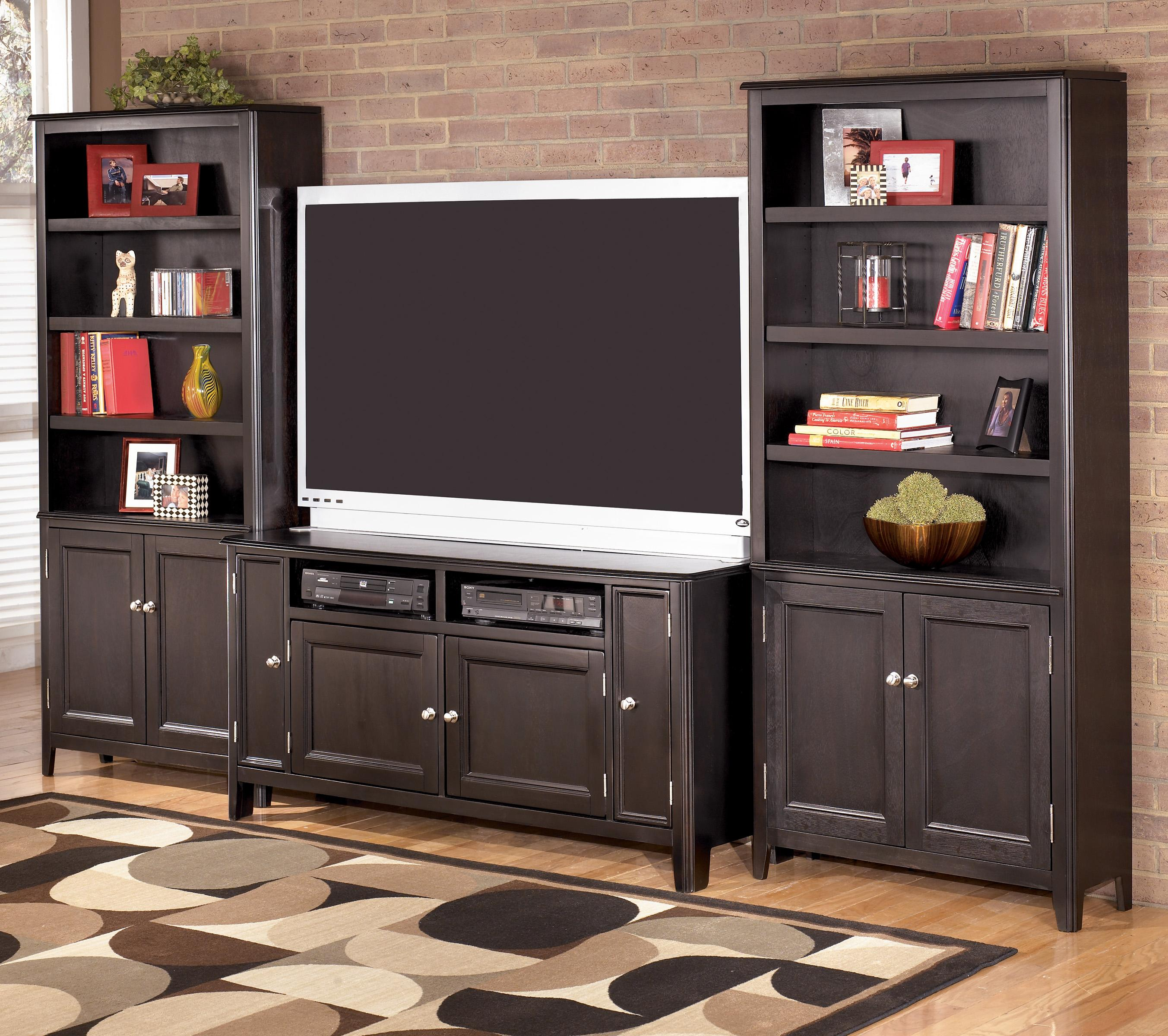 Signature Design By Ashley Carlyle 60 Inch TV Stand U0026 2 Large Door  Bookcases   AHFA   Wall Unit Dealer Locator