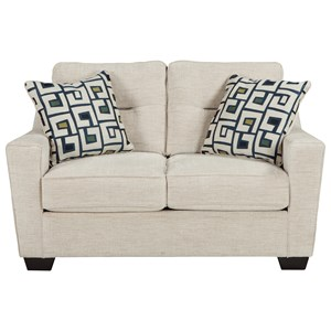 Contemporary Loveseat With Shaped Track Arms