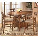 Ashley Furniture Cross Island 3-Piece Counter Height Ext Table Dining Set - D319-42+2x324 - Table shown with leaf and 4 bar stools