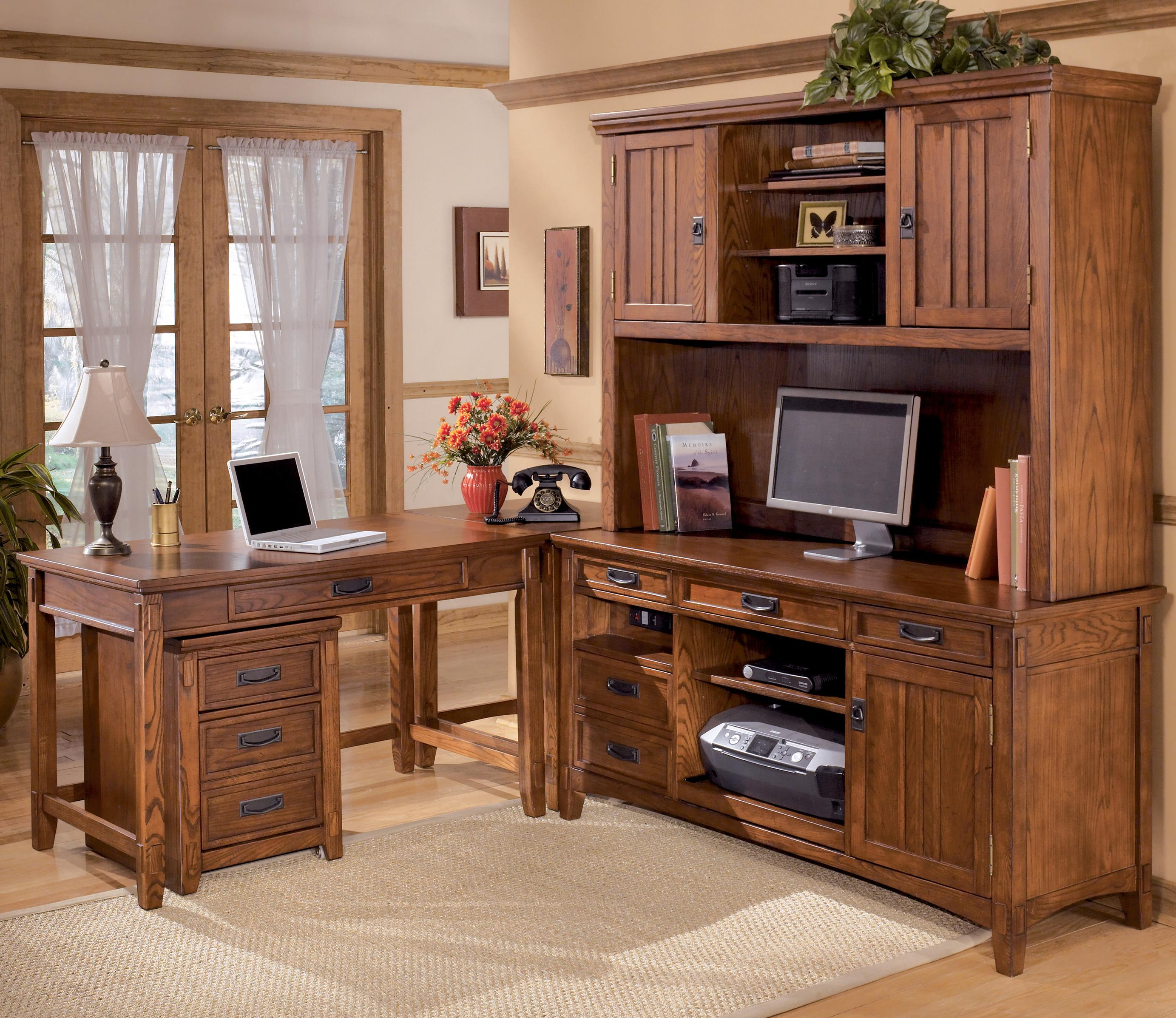 Ashley Furniture Cross Island 5 Piece L Shape Desk Unit With Hutch And 2  Drawer File Cabinet   AHFA   L Shape Desk Dealer Locator