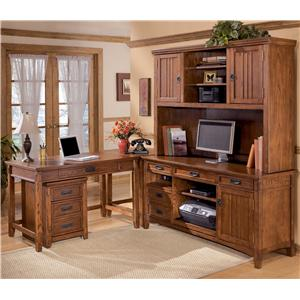 Signature Design by Ashley Furniture Cross Island 5 Piece L-Shape Desk Unit