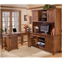 Ashley Furniture Cross Island 5 Piece L-Shape Desk Unit - Item Number: H319-10+46+47+49+12