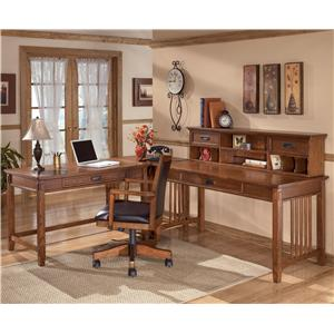 Signature Design by Ashley Furniture Cross Island L-Shape Desk with Low Hutch